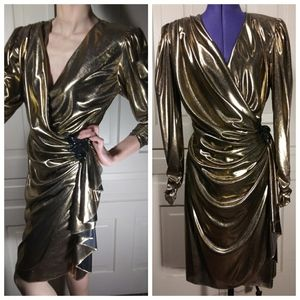 80s vintage party dress gold metallic draped wrap